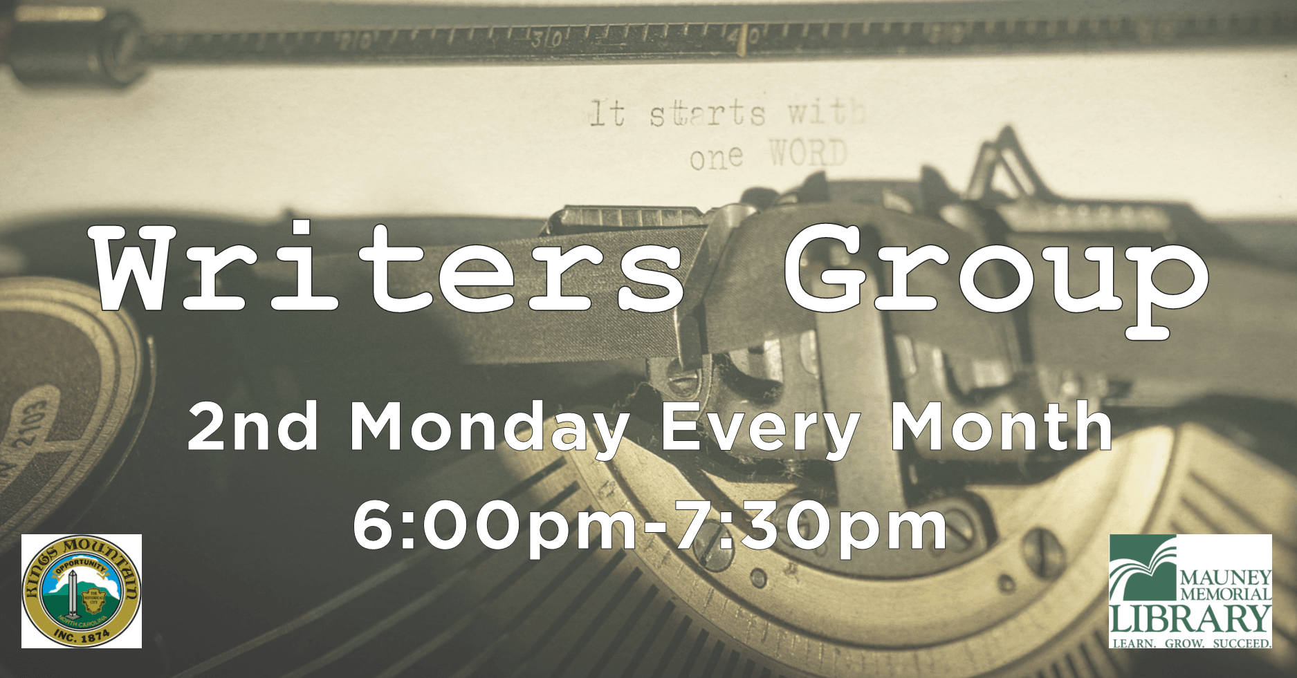 Writers Group - 2nd Monday Every Month, 6:00pm to 7:30pm